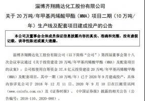 雪松旗下齐翔腾达MMA项目二期生产线实现一次开车成功
