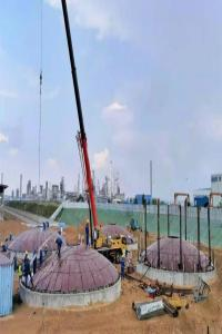 喜讯!榆炼进口原油铁路接卸车项目8台储罐基础全面交安